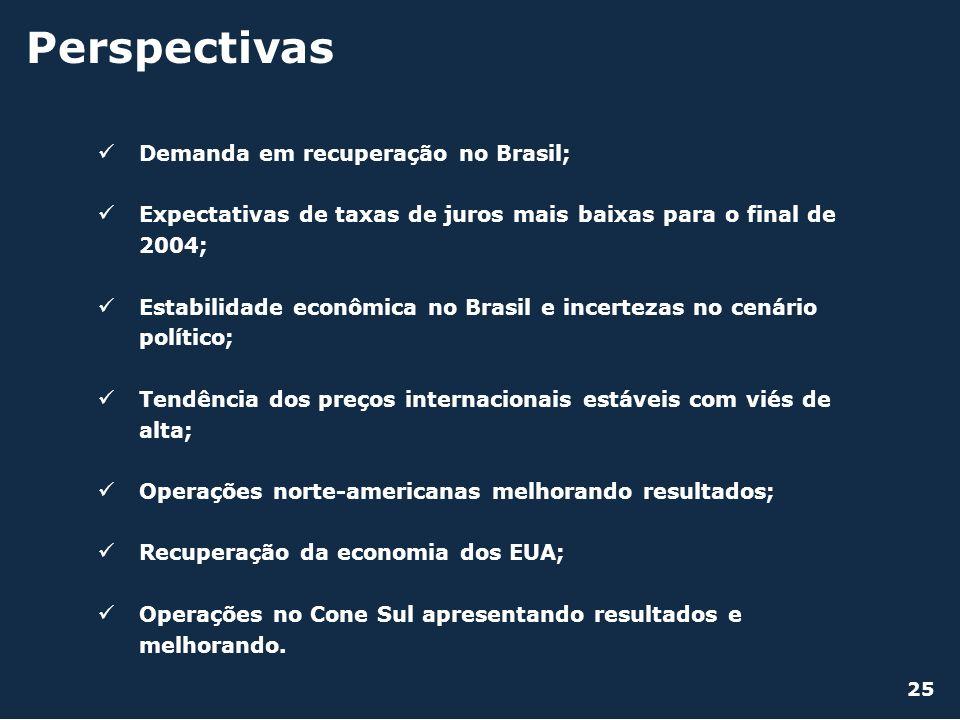 Perspectivas Demanda em recuperação no Brasil;