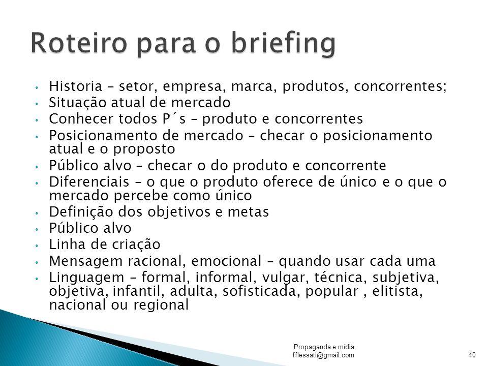Roteiro para o briefing