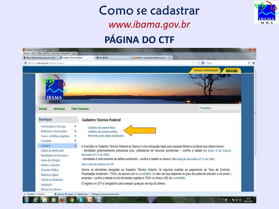 Como se cadastrar www.ibama.gov.br PÁGINA DO CTF 10