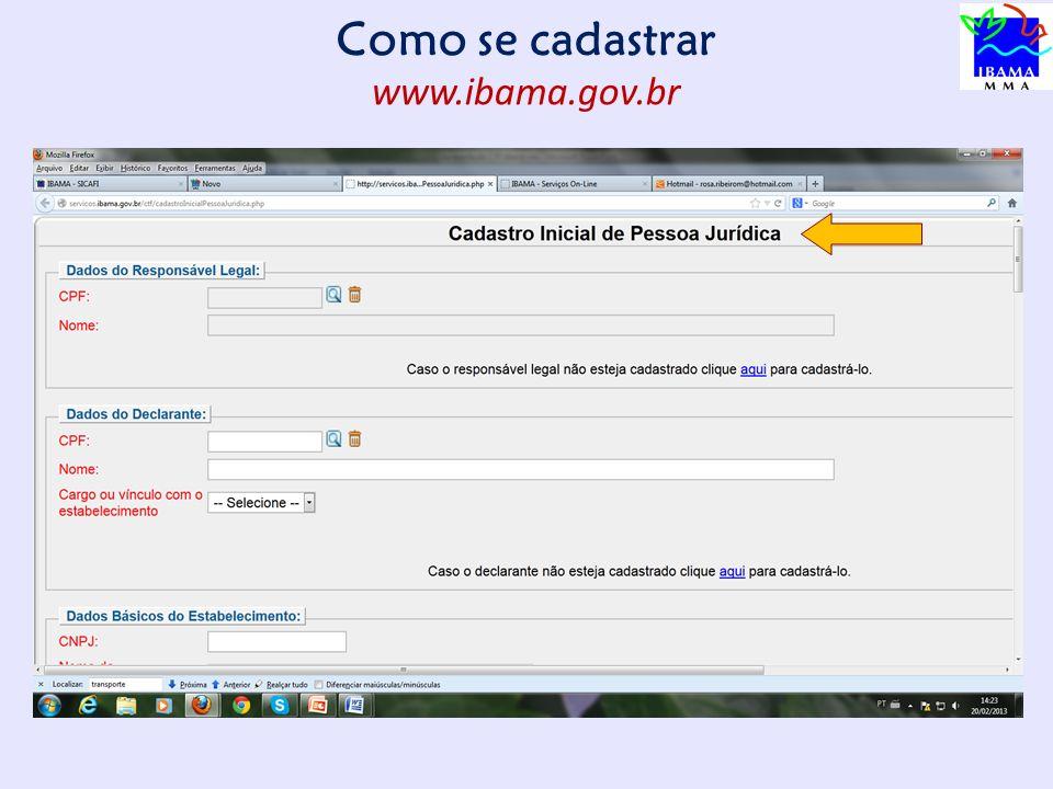 Como se cadastrar www.ibama.gov.br 11