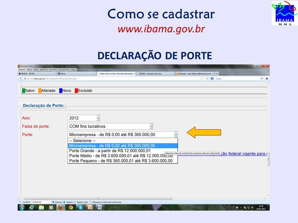 Como se cadastrar www.ibama.gov.br DECLARAÇÃO DE PORTE 13