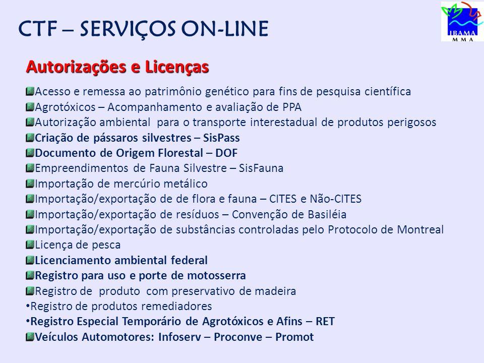 CTF – SERVIÇOS ON-LINE Autorizações e Licenças
