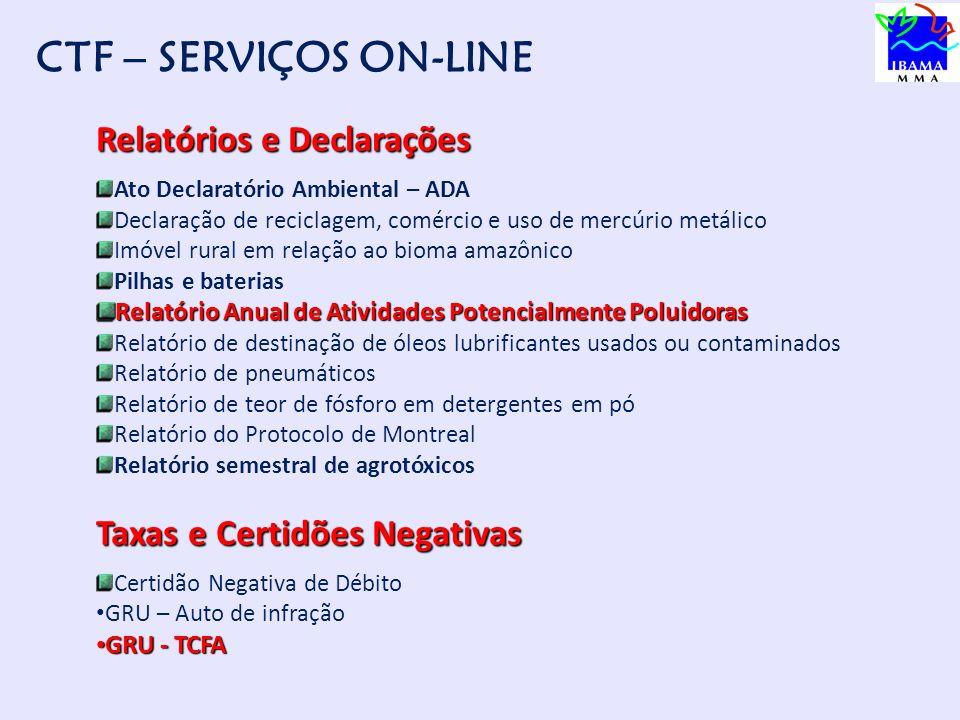 CTF – SERVIÇOS ON-LINE Relatórios e Declarações