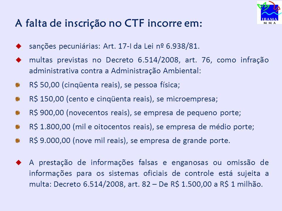 A falta de inscrição no CTF incorre em:
