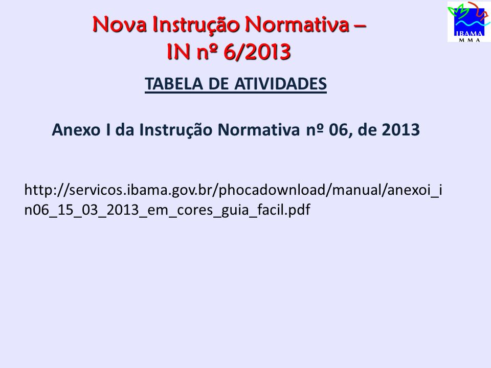 Nova Instrução Normativa – IN nº 6/2013