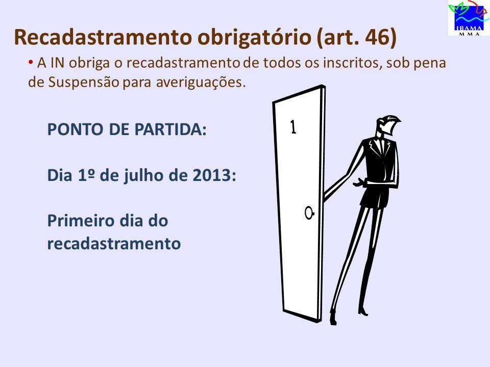 RRecadastramento obrigatório (art. 46)