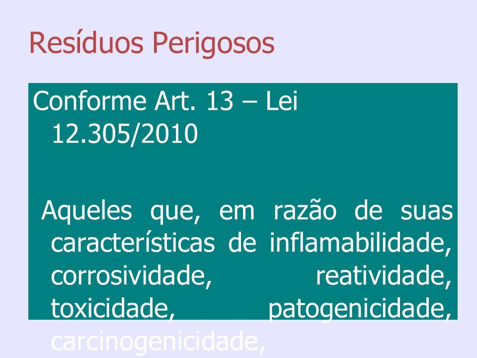 Resíduos Perigosos Conforme Art. 13 – Lei 12.305/2010