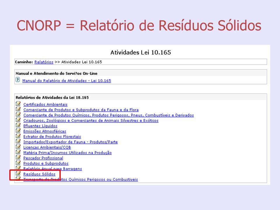 CNORP = Relatório de Resíduos Sólidos