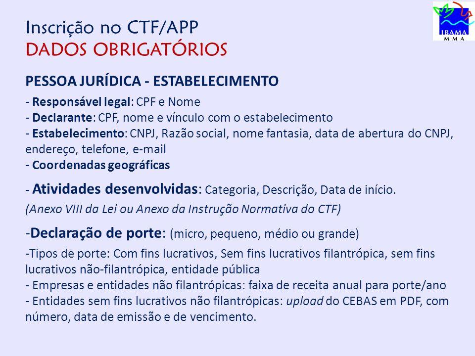 Inscrição no CTF/APP DADOS OBRIGATÓRIOS