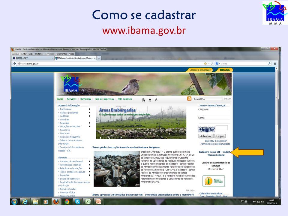 Como se cadastrar www.ibama.gov.br 9