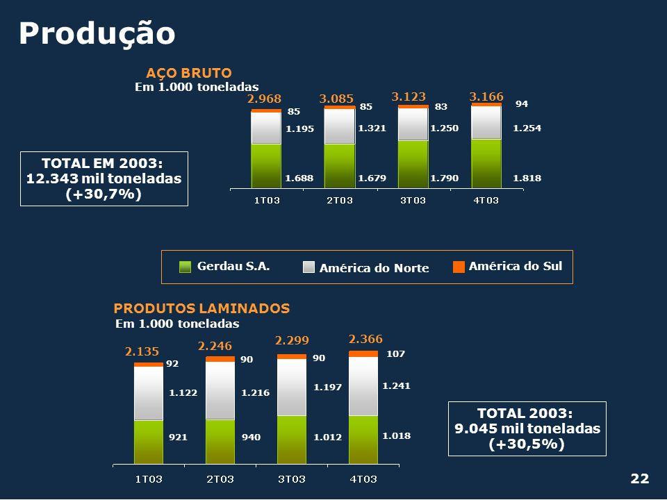 Produção AÇO BRUTO TOTAL EM 2003: 12.343 mil toneladas (+30,7%)