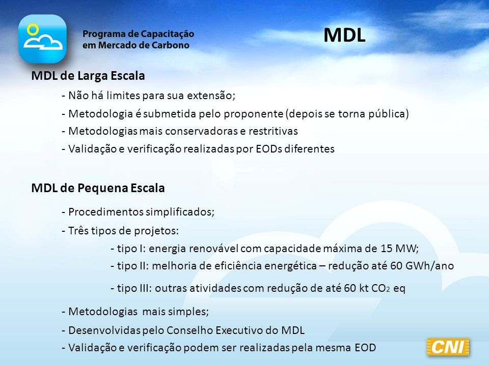 MDL MDL de Pequena Escala - Procedimentos simplificados;