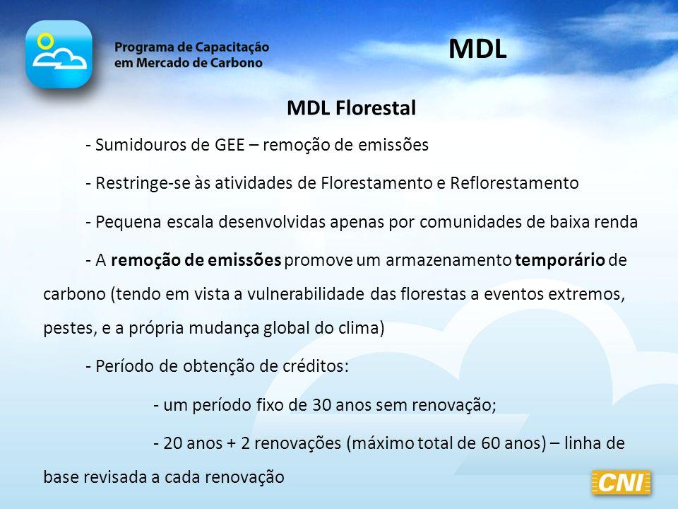 MDL MDL Florestal - Sumidouros de GEE – remoção de emissões