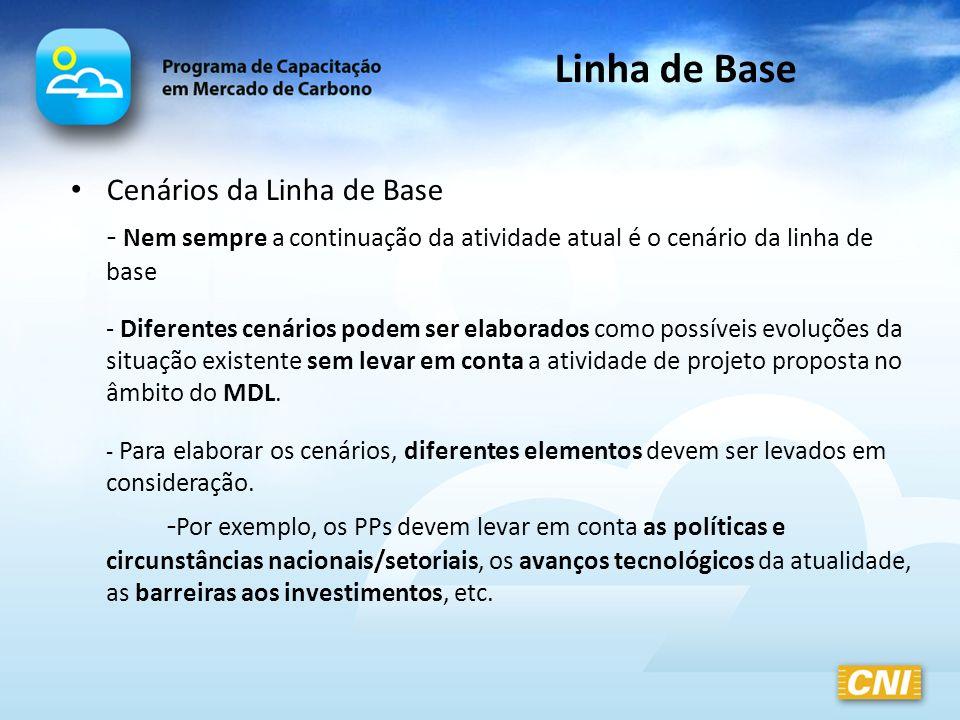 Linha de Base Cenários da Linha de Base