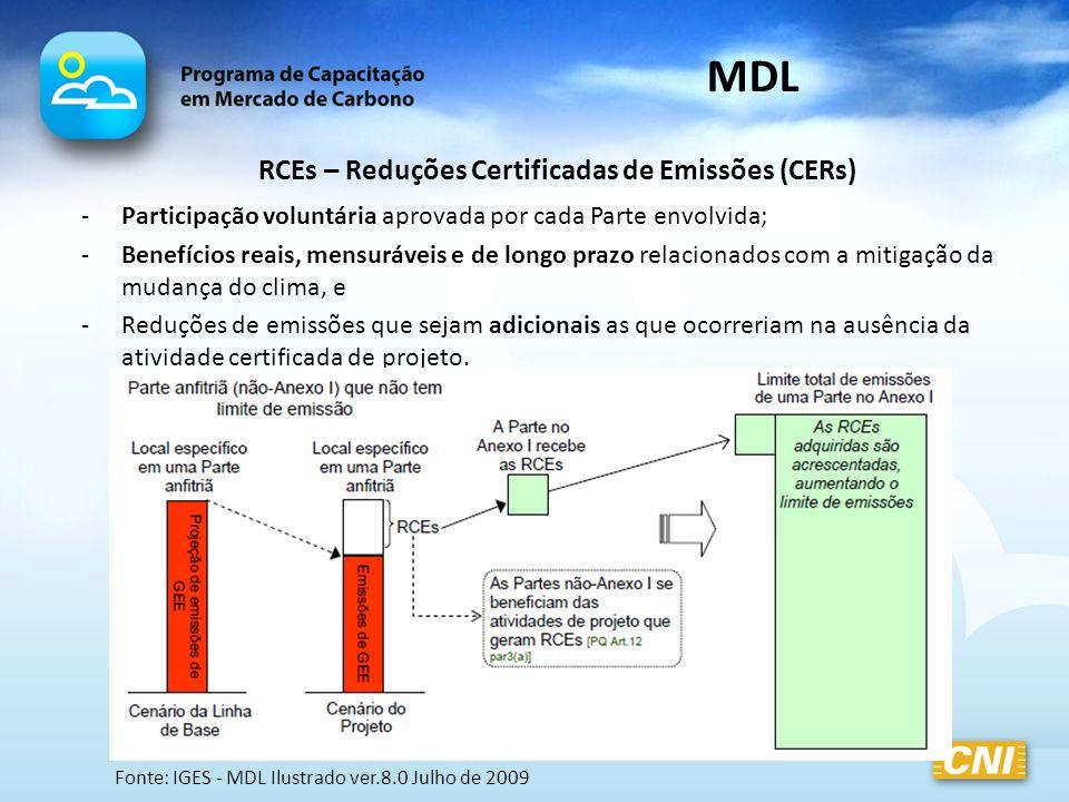 RCEs – Reduções Certificadas de Emissões (CERs)