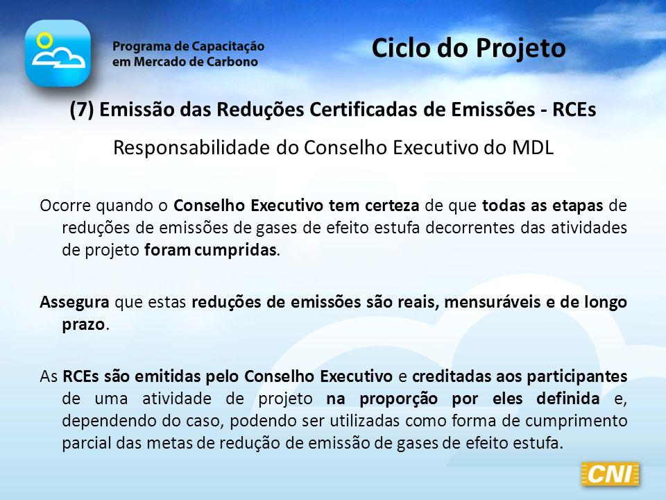 (7) Emissão das Reduções Certificadas de Emissões - RCEs