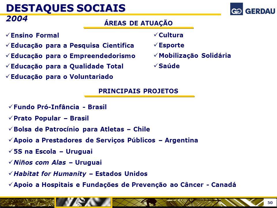 DESTAQUES SOCIAIS 2004 ÁREAS DE ATUAÇÃO Ensino Formal Cultura