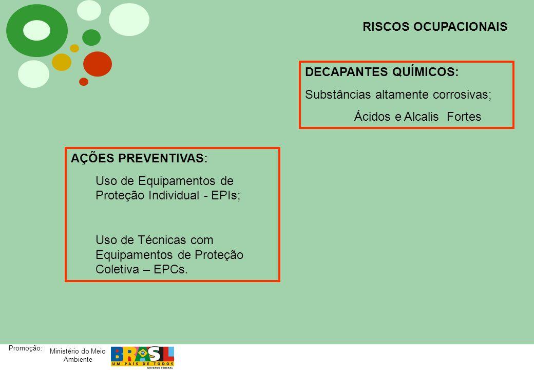 RISCOS OCUPACIONAISDECAPANTES QUÍMICOS: Substâncias altamente corrosivas; Ácidos e Alcalis Fortes.