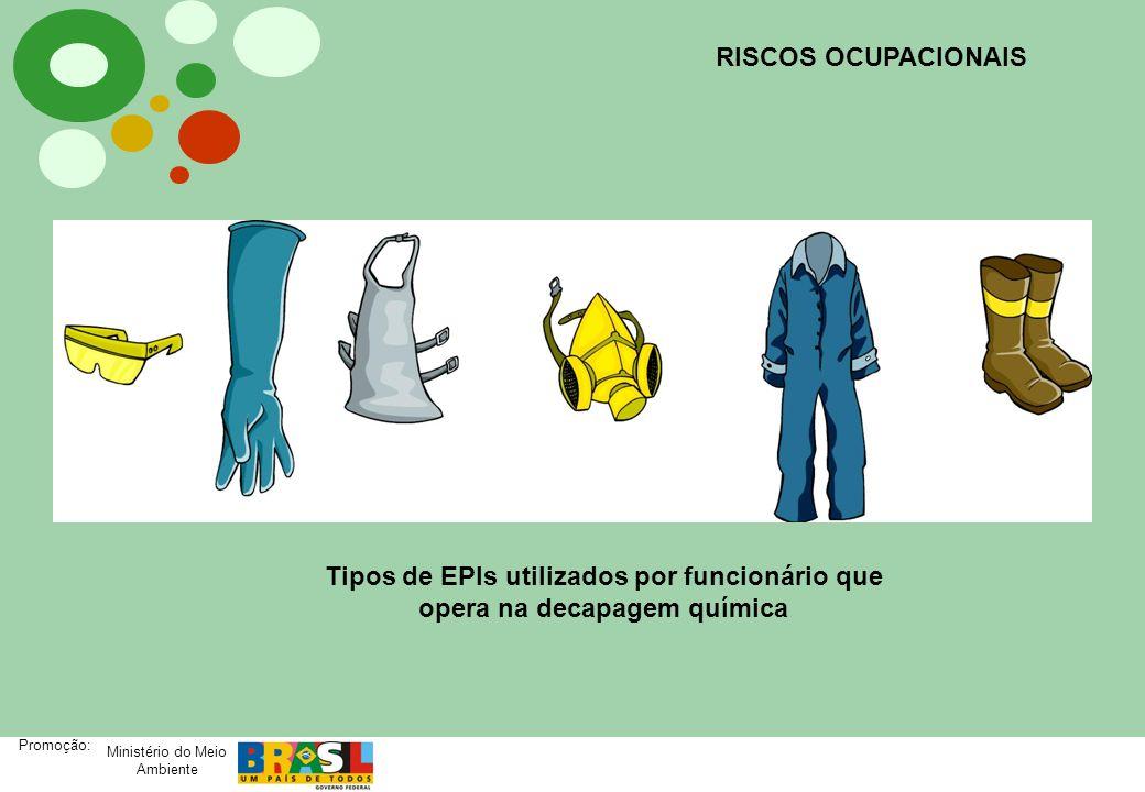 RISCOS OCUPACIONAIS Tipos de EPIs utilizados por funcionário que opera na decapagem química