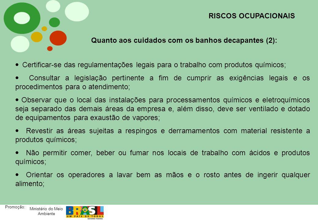 RISCOS OCUPACIONAIS Quanto aos cuidados com os banhos decapantes (2):