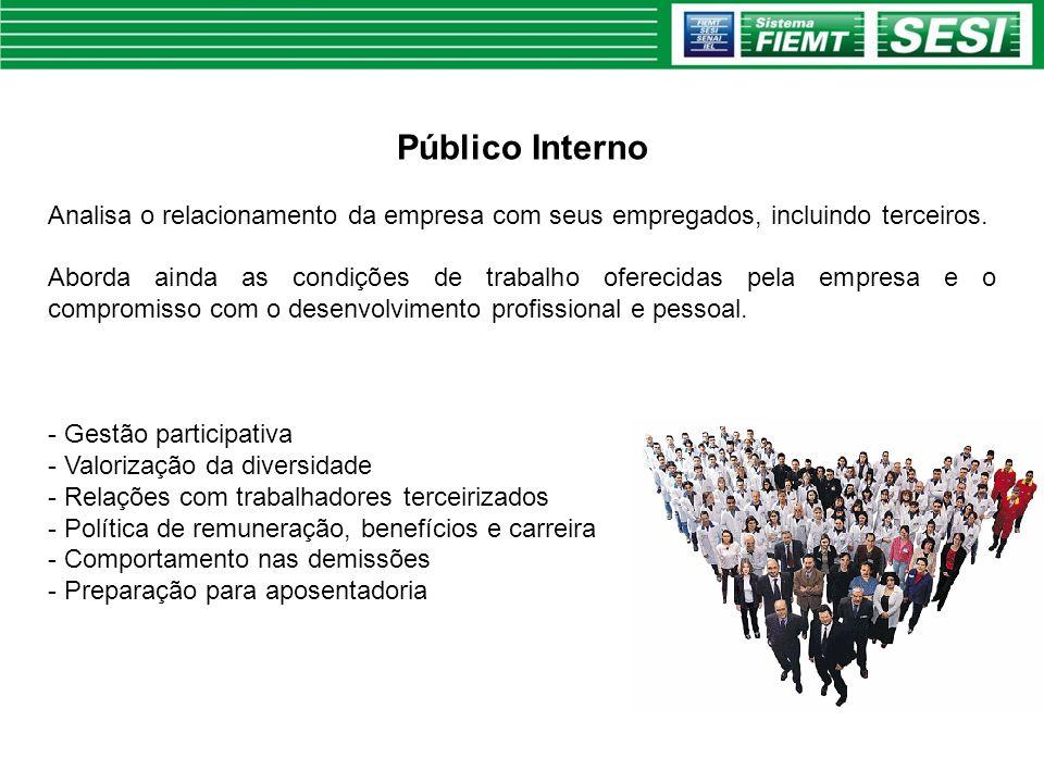 Público Interno Analisa o relacionamento da empresa com seus empregados, incluindo terceiros.