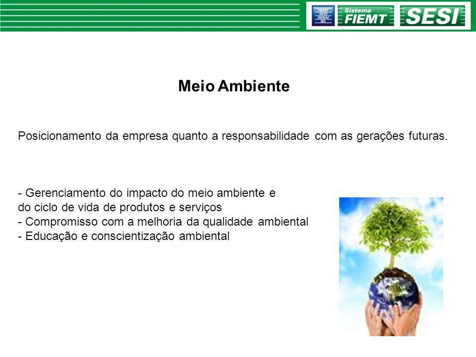 Meio Ambiente Posicionamento da empresa quanto a responsabilidade com as gerações futuras. Gerenciamento do impacto do meio ambiente e.