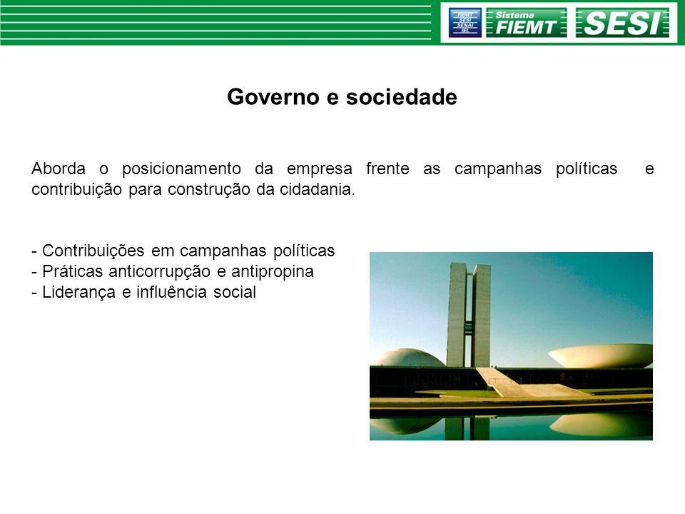 Governo e sociedade Aborda o posicionamento da empresa frente as campanhas políticas e contribuição para construção da cidadania.
