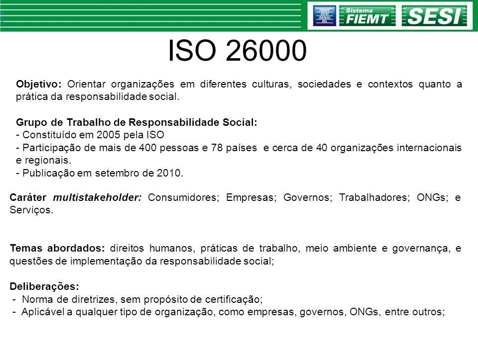 ISO 26000 Objetivo: Orientar organizações em diferentes culturas, sociedades e contextos quanto a prática da responsabilidade social.