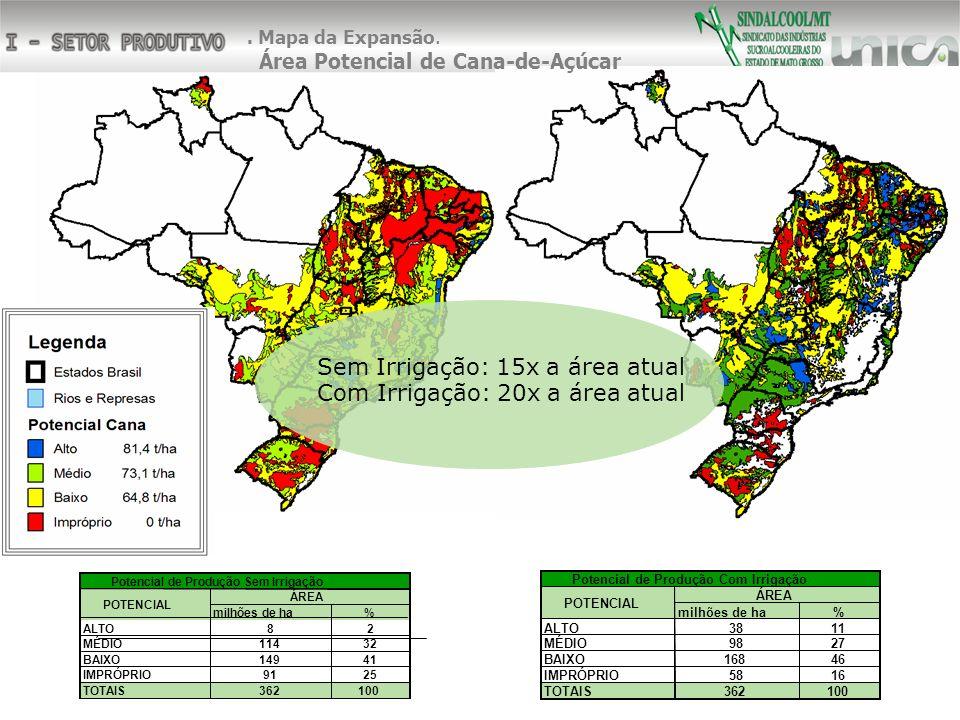 Sem Irrigação: 15x a área atual Com Irrigação: 20x a área atual