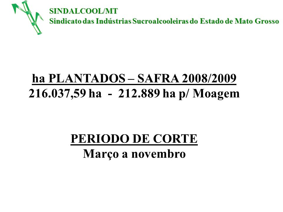 216.037,59 ha - 212.889 ha p/ Moagem Março a novembro