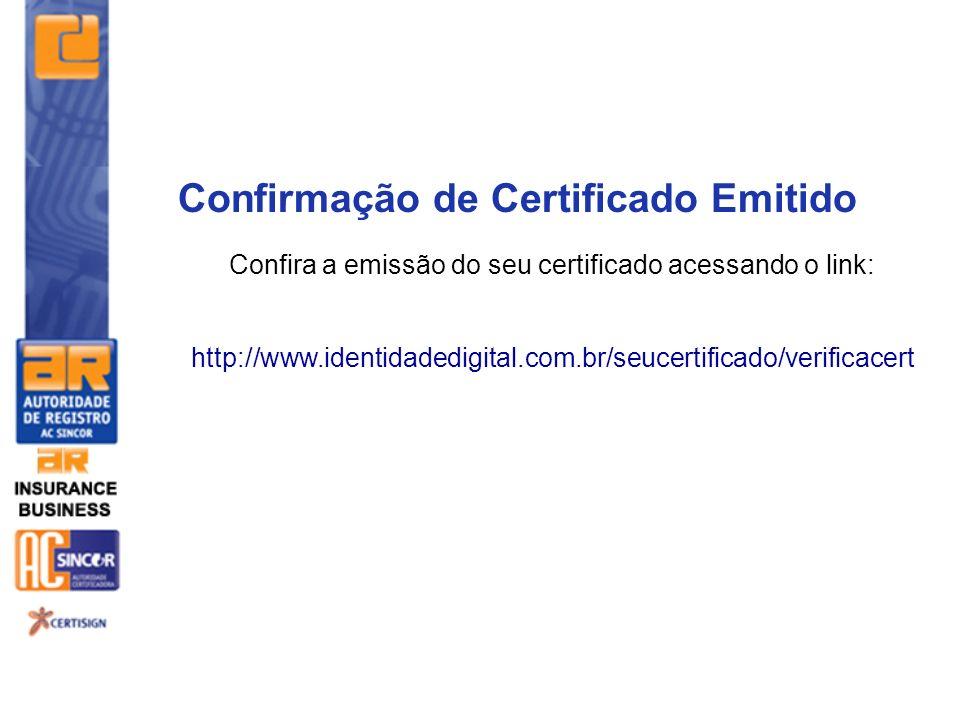 Confira a emissão do seu certificado acessando o link: