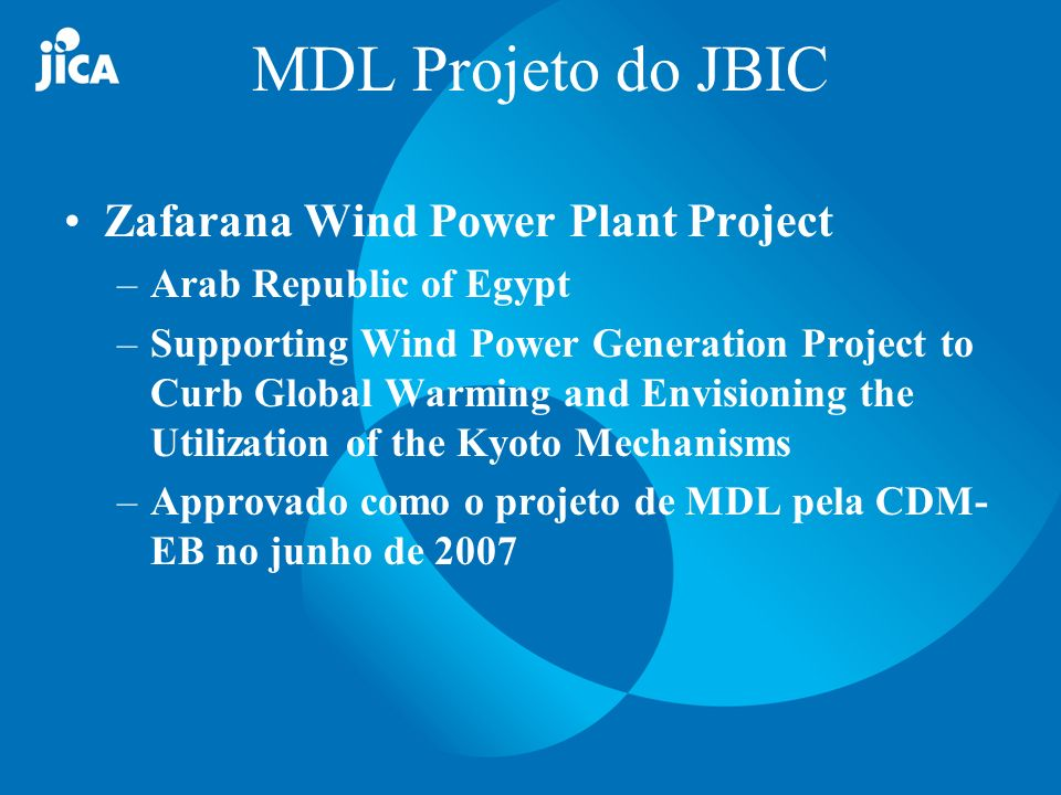 MDL Projeto do JBIC Zafarana Wind Power Plant Project