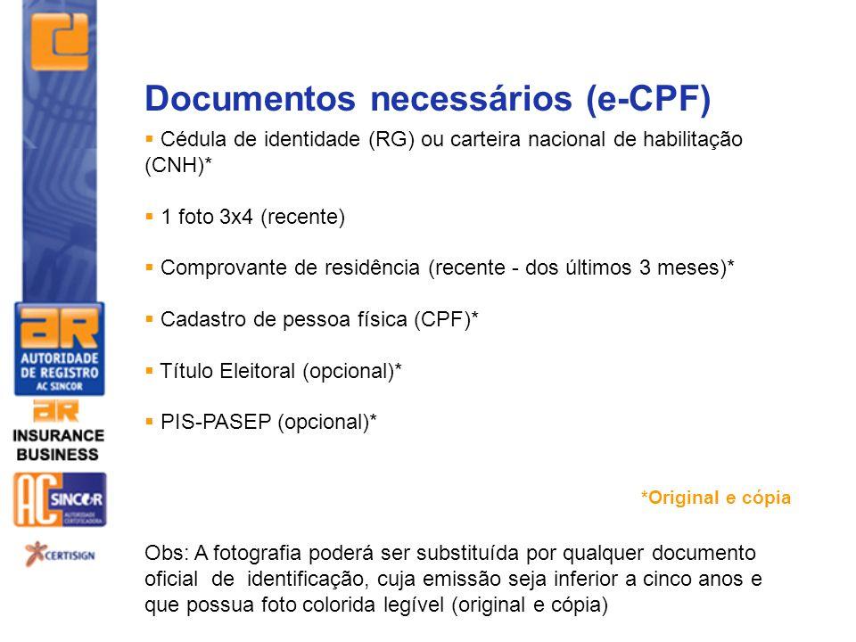 Documentos necessários (e-CPF)
