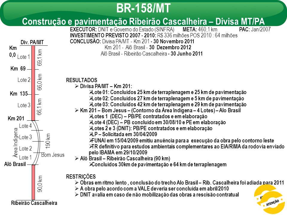 Construção e pavimentação Ribeirão Cascalheira – Divisa MT/PA
