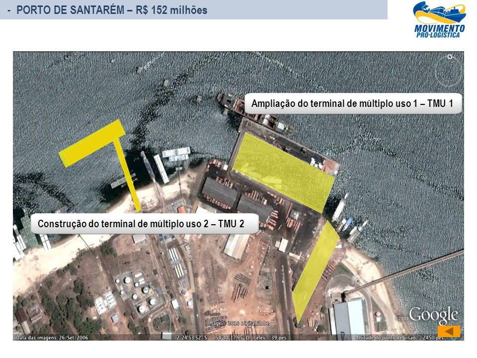- PORTO DE SANTARÉM – R$ 152 milhões