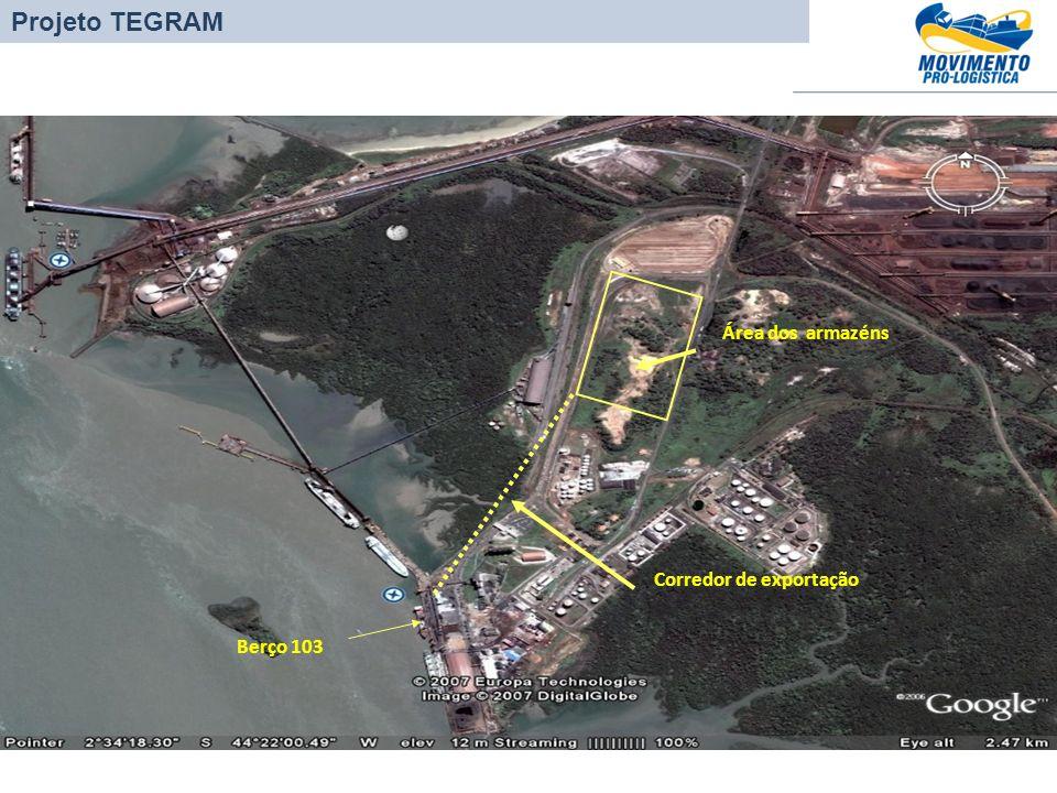 Projeto TEGRAM Área dos armazéns Corredor de exportação Berço 103