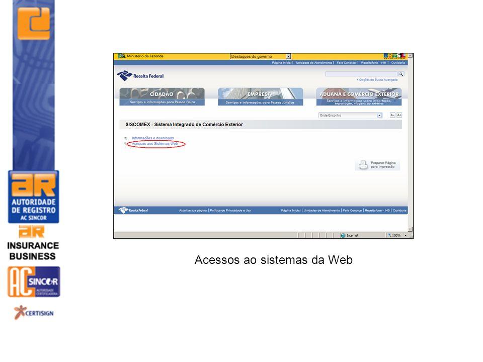 Acessos ao sistemas da Web