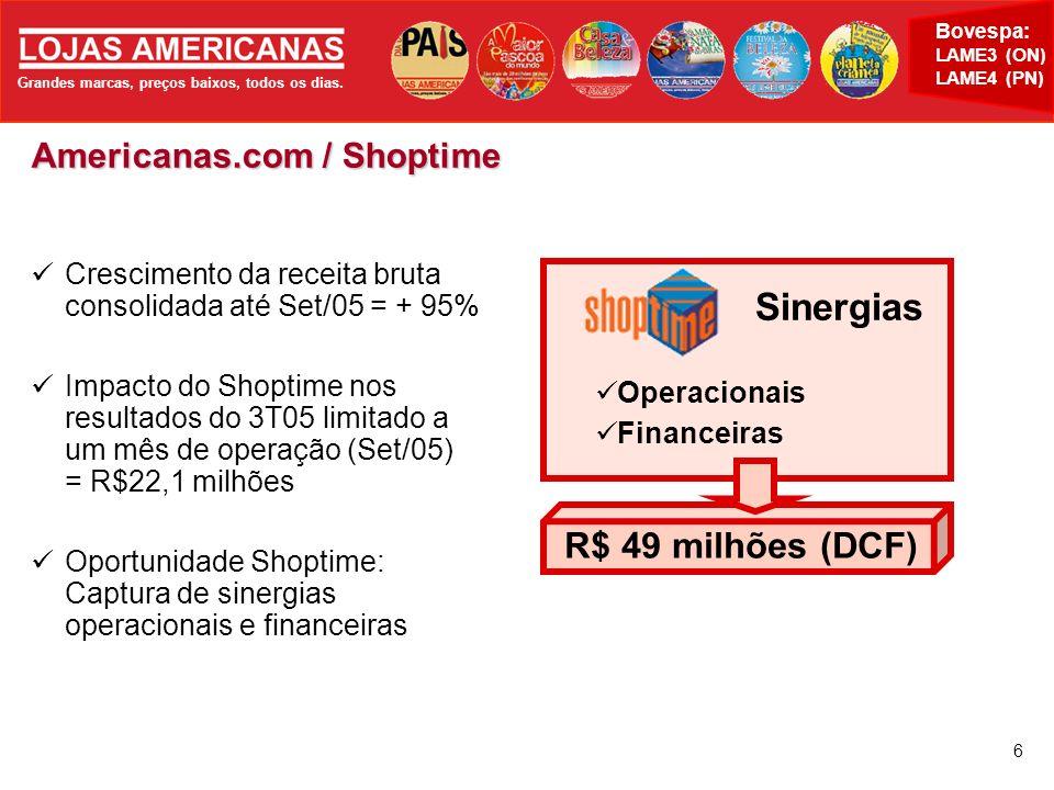 R$ 49 milhões (DCF) Americanas.com / Shoptime