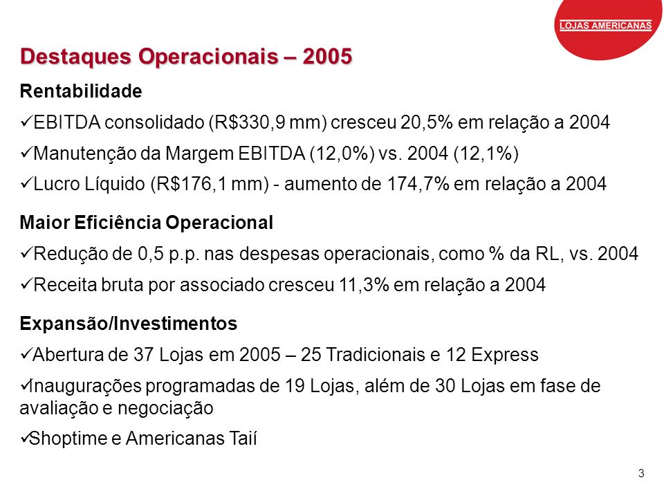 Destaques Operacionais – 2005