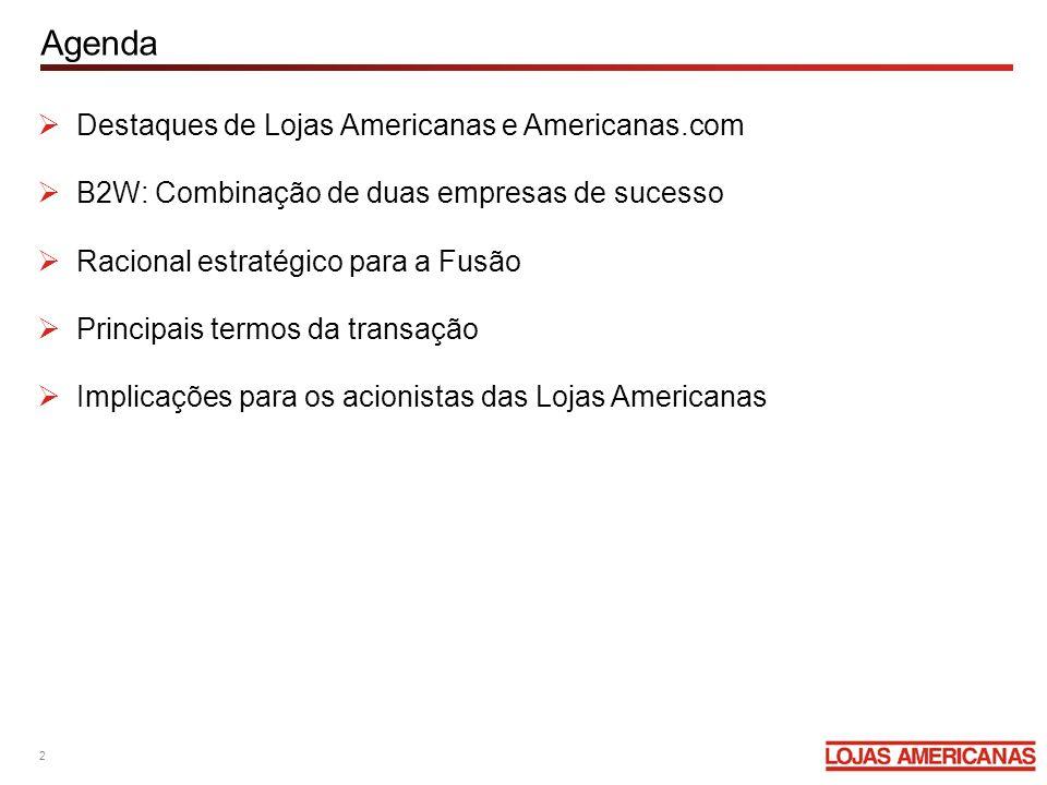 Agenda Destaques de Lojas Americanas e Americanas.com