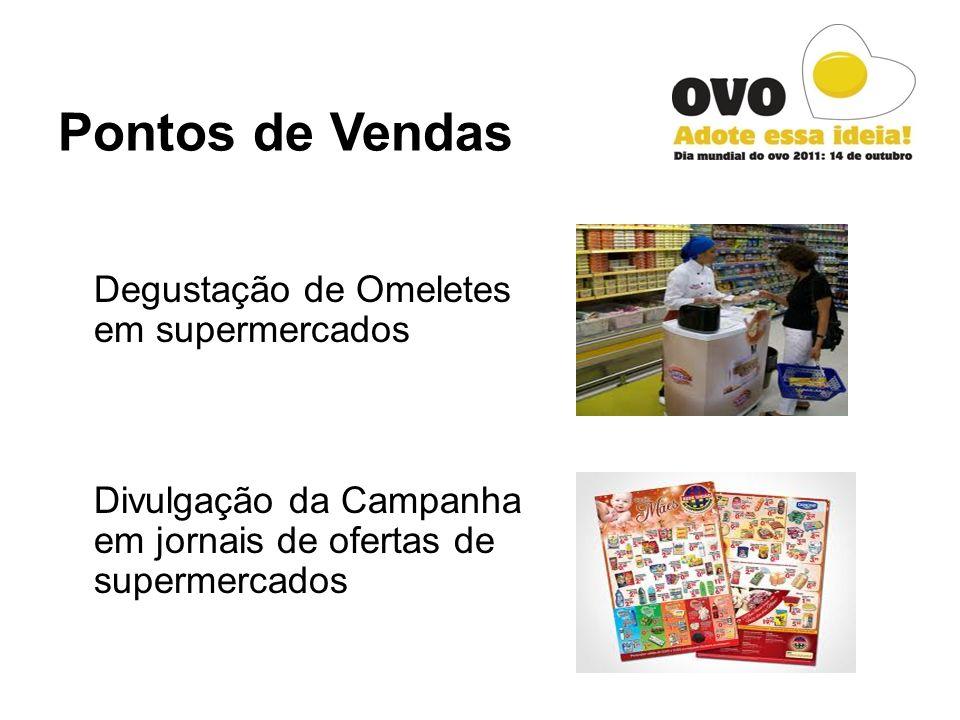 Pontos de Vendas Degustação de Omeletes em supermercados Divulgação da Campanha em jornais de ofertas de supermercados