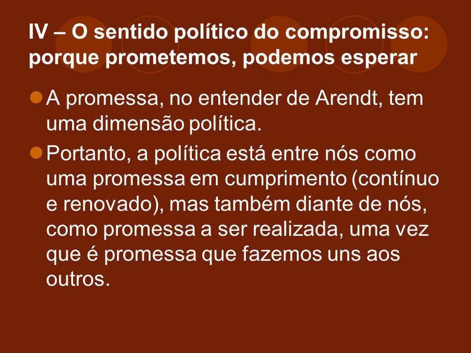 IV – O sentido político do compromisso: porque prometemos, podemos esperar