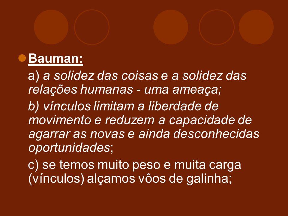Bauman: a) a solidez das coisas e a solidez das relações humanas - uma ameaça;