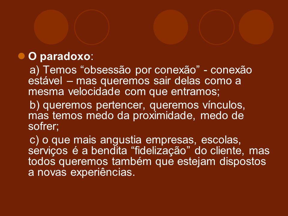 O paradoxo: a) Temos obsessão por conexão - conexão estável – mas queremos sair delas como a mesma velocidade com que entramos;