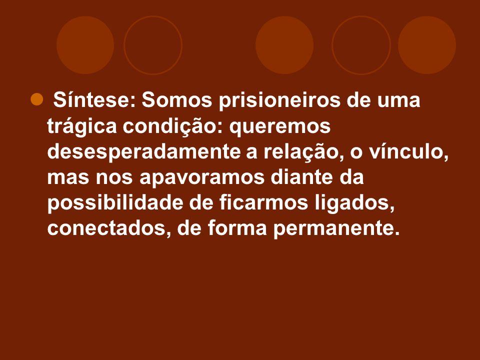 Síntese: Somos prisioneiros de uma trágica condição: queremos desesperadamente a relação, o vínculo, mas nos apavoramos diante da possibilidade de ficarmos ligados, conectados, de forma permanente.