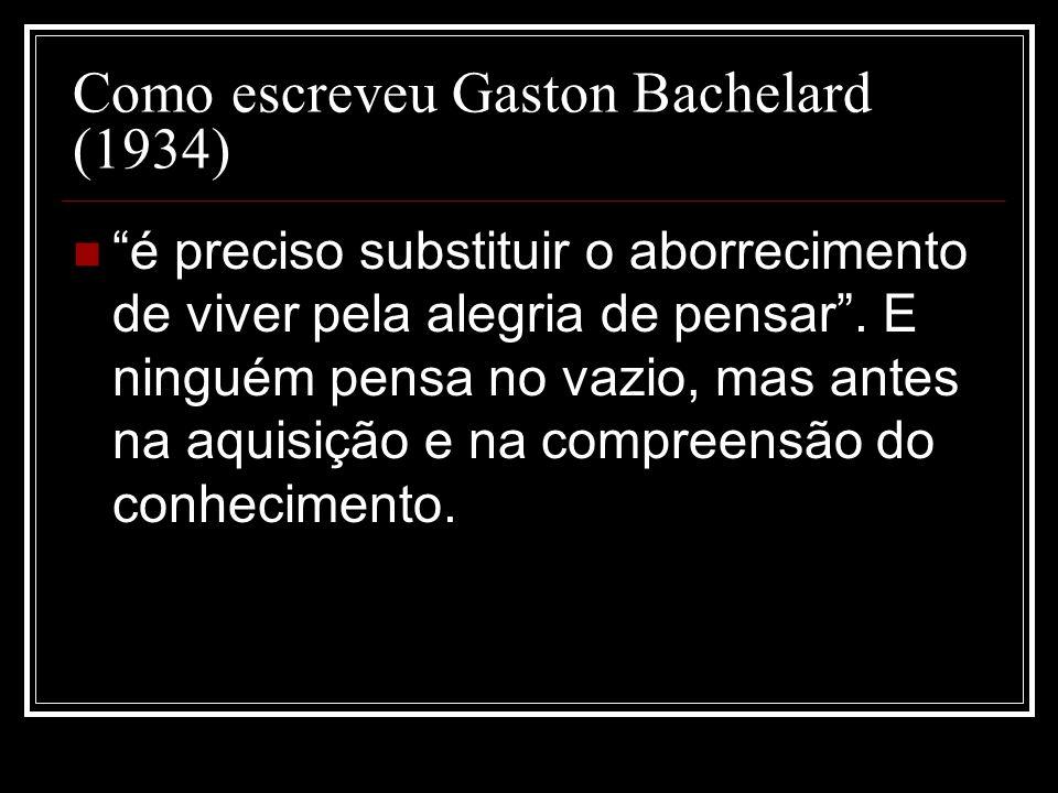 Como escreveu Gaston Bachelard (1934)