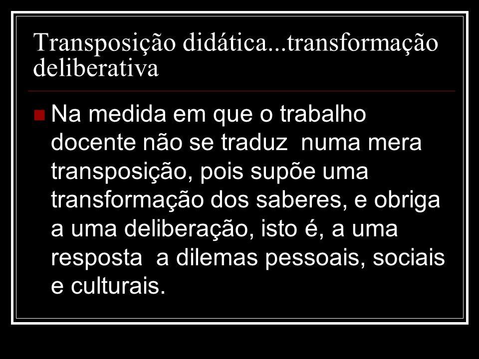 Transposição didática...transformação deliberativa