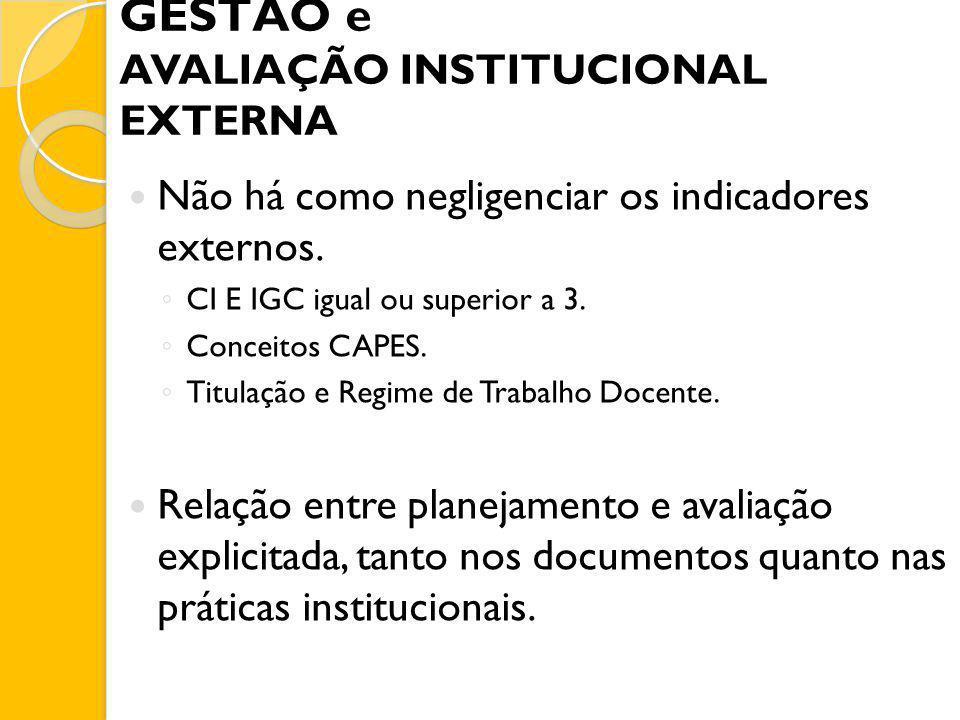 GESTÃO e AVALIAÇÃO INSTITUCIONAL EXTERNA