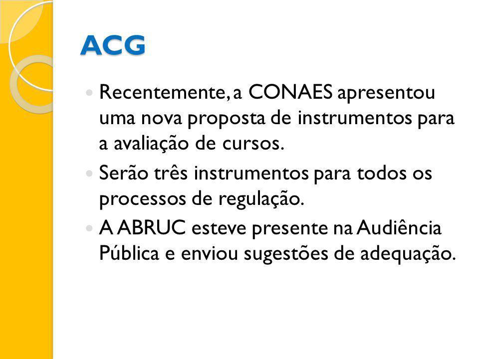 ACG Recentemente, a CONAES apresentou uma nova proposta de instrumentos para a avaliação de cursos.