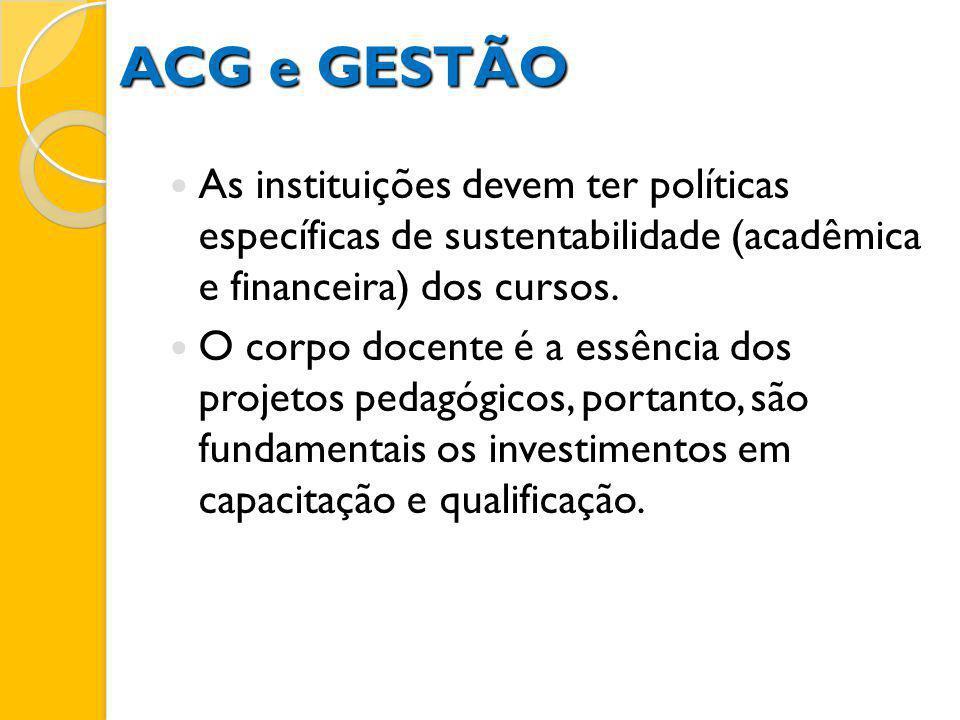 ACG e GESTÃOAs instituições devem ter políticas específicas de sustentabilidade (acadêmica e financeira) dos cursos.